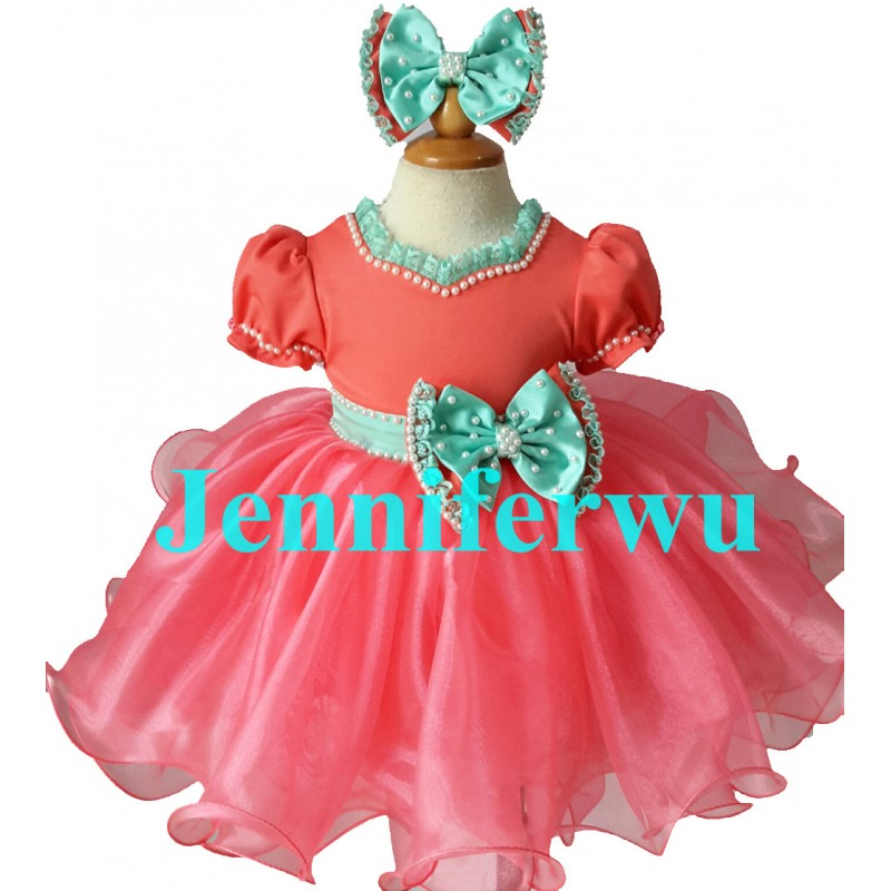 Infant Toddler Baby Girl/'s Glitz Sequins Furs Pageant Dress Many Sizes G511